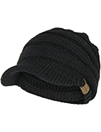 Warm Cable Ribbed Knit Beanie Hat w/ Visor Brim – Chunky Winter Skully Cap