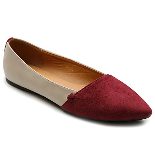 Ollio Women's Ballet Shoe Comfort Faux Suede Two Tone Multi Color Flat ZM1035(6 B(M) US, Burgundy)