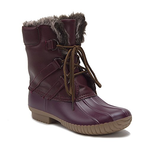 Women's Urban Lace Up Two Tone Faux Fur Lined Winter Rain Duck Boots, Burgundy, (Fur Lined Duck Boot)