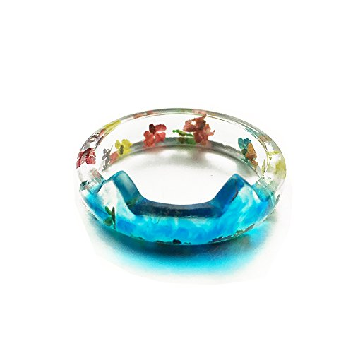 New Arrival Handmade Cat Ears with Dried Flowers Transparent Resin Women's Charm Ring - Cat Pictures Transparent