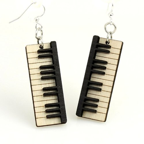 "Price comparison product image Green Tree ""Piano Key"" Renewable Natural Wood Earrings"