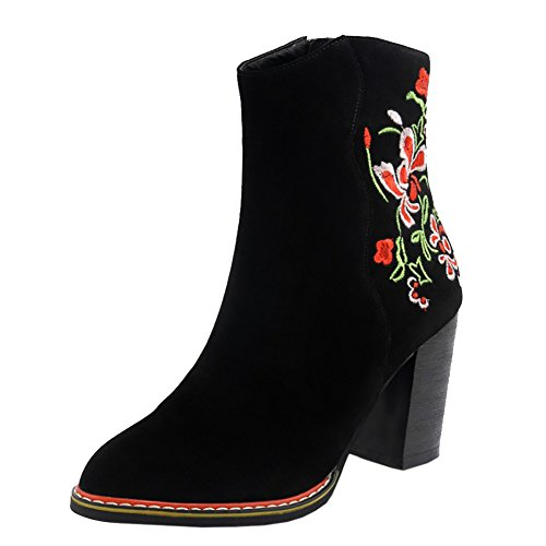 Botines Tacones Zapatos para Moda mujer de bordados cuadrados Negro estampados cuero VOCOSI wZ18qF8