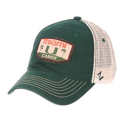 Zephyr NCAA Miami Hurricanes Men's Trademark Relaxed Cap, Adjustable, Washed Team/White - Miami Hurricanes Hat Cap