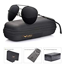LUENX Aviator Sunglasses Mens Womens Polarized with Case - UV 400 Mirror Purple Lens Silver Metal Frame 60mm