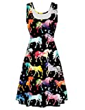 Uideazone Women's Scoop Neck Unicorn Printed Sleeveless Casual Printed Tank Dress