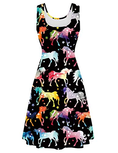 Uideazone Women's Funny Unicorn Print Sleeveless A Line Dress for Beach Party Vacation Summer]()