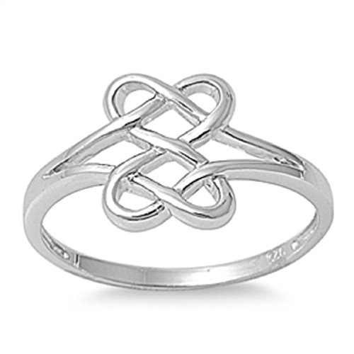 Celtic Infinity Double Heart Ring .925 Sterling Silver Promise Band Sizes 3-13 (7)