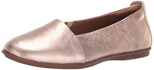 CLARKS Women's Un Coral Step Ballet Flat, Rose Gold Leather, 100 M US ()