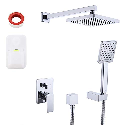 KES Pressure Balancing Shower System Rough-in Shower Valve Faucet and Trim Kit Handheld and Rainfall Shower Head Combo Modern Square Polished Chrome, ()