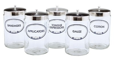 Grafco 3454A-G Labeled Glass Sundry Jars with Covers - 'Gauze' Jar with Cover