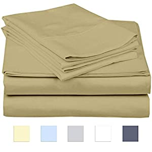 "eBeddy Linens 800 Thread Count Hypoallergenic Soft 4-Pieces Bed Sheet Set | Single Ply – Sateen Weave Natural Cotton | Expanded/Olympic Queen Size Fits Upto 18"" Deep Pocket Taupe Solid"