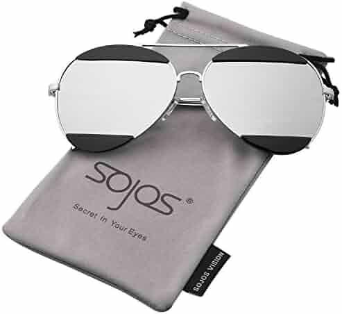 8e4c494a986 SojoS Metal Frame Double Color Flash Mirrored Aviator Womens Sunglasses  SJ1032