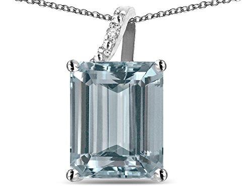 Star K Large 10x8 Octagon Emerald Cut Genuine Aquamarine Pendant Necklace 10 kt White Gold