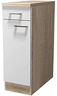 smartmoebel Küchen Unterschrank 30 cm breit Weiß Sonoma Eiche ...