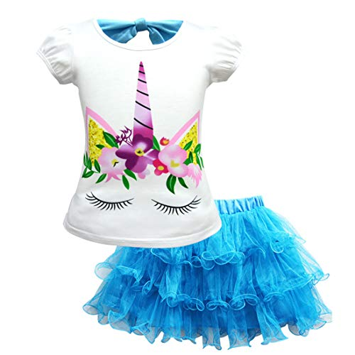 Toddler Kids Baby Girl Unicorn Top T-Shirt Lace Tutu Skirt Outfits Set Clothes Blue