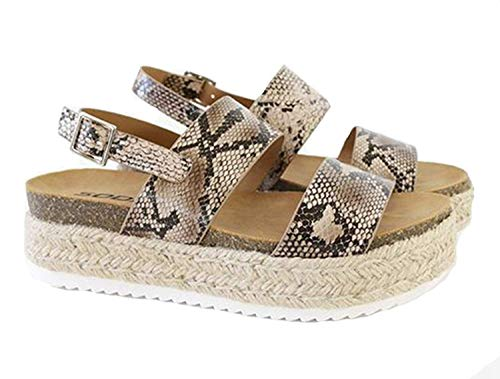 Womens KAZO Casual Espadrilles Trim Rubber Sole Flatform Studded Wedge Buckle Ankle Strap Open Toe Sandals (6.5 M US, Python/Natural K