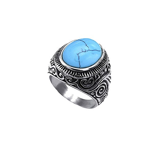 SEVEN50 Classic Mens Stainless Steel Signet Ring Classic Vintage, Blue Created-Turquoise (10)