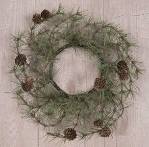 (Cypress Pine Pinecone Candle Ring Country Primitive Christmas Holiday Décor)