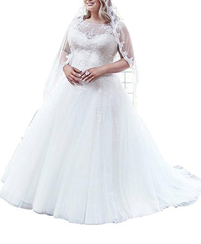 Slenyubridal Women's Ball Gowns Plus Size Wedding Dresses Appliques Tulle Bridal Gown White Size 28W (Size 28 White Wedding Dress)
