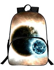 HEYFAIR Kids Galaxy Digital Print Backpack Students School Bags Travel Daypack