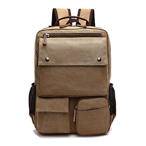 Super moderno Vintage Tela Zaino Zaino per laptop/Scuola/escursionismo/Outdoor Casual Daypacks Collegio Borsa Laptop Bag computer bag zaino scuola Bookbag, Uomo, marrone cachi