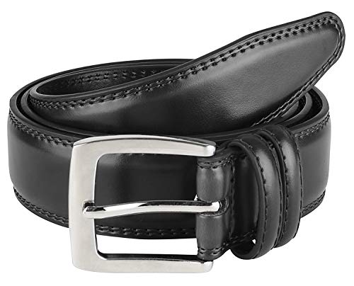 Men's Dress Belt ALL Genuine Leather 35mm Black (Size 38)