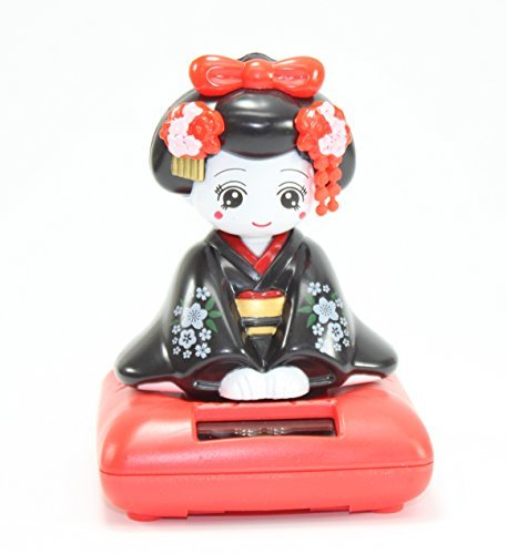A Sitting Black Geisha Girl Solar Powered Japanese Kimono...