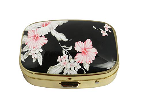 Flowers Metal Clasp Necklace (LCTCKP Custom Fashion Square Glass Gold Pill Case Decorative Metal Western Medicine Tablet Container Box (Vintage Flower))
