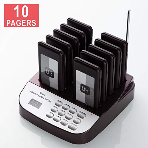 PagingPro Restaurant Pager System with Call Button Extensible Wireless Queue Calling System for Food Court Church Clinic Shop Cafe (Full Set)