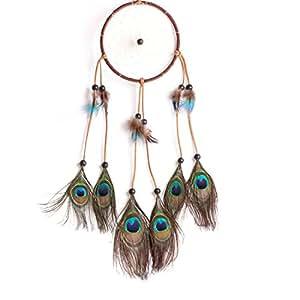 danspeed nueva moda caliente de regalo indio pavo real colgante de atrapador de sueños de plumas de Atrapasueños viento, estilo indio regalo