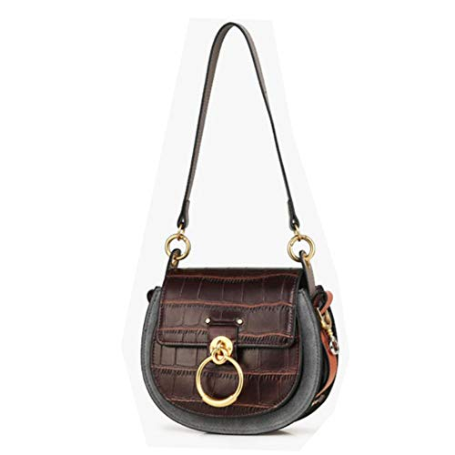 ACTLURE Women O Loop Small Leather Saddle Shaped crossbody Handbag Purse (alligatorbrown)