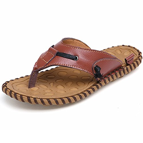 PINUO Men's Summer Brand Trend Sandals Slippers New 2016 Genuine Leather Platform Beach Sandal by PINUO