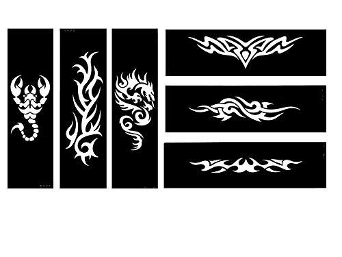 Dragón Tribal Escorpión Tattoo Plantillas Plantillas 6Sheet Set 2 Tie