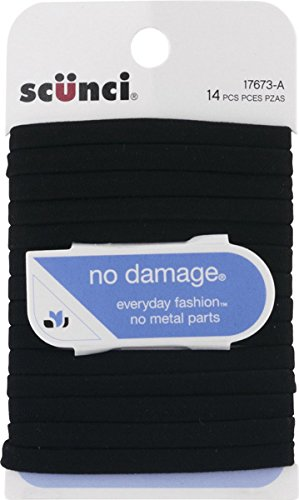 (Scunci No Damage - Flat Design - Hair Ties Black (14 Count))