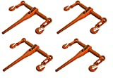 GHP Pack of 4 Chain Ratcheting 5/16''-3/8'' Load Binder Boomer Tie Down Rigging
