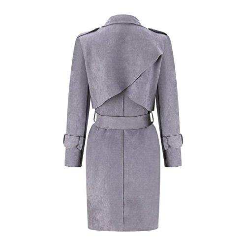 Fuibo Coat Windbreaker Parka Jacket Autumn Overcoat Suede Women Gray Outwear Winter Coat UqxFUSr