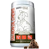 Paws & Pals Wild Alaskan Salmon Fish Oil Omega 3 & 6 for Dogs and Cats - Anti Itch Skin & Coat + Allergy Support - Hip & Joint + Natural Arthritis Dog Supplement – in Liquid or Chew Bite Treats