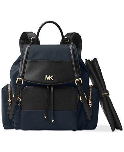 Michael Michael Kors Beacon Nylon Large Flap Diaper Backpack in Admiral Black by Michael Kors