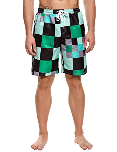 (Coofandy Men's Plaid Print Casual Beach Board Shorts Quick Dry Swim Trunks Green  Medium)