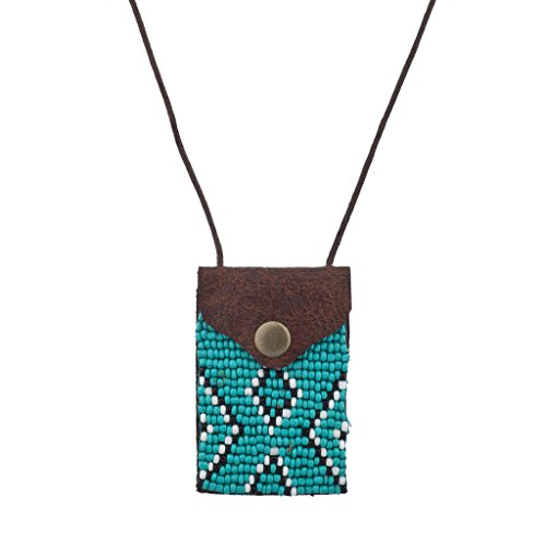 Lux Accessories Tribal Brown Turq Black White Seed Bead Pouch Pocket Necklace (Pouch Crystal)