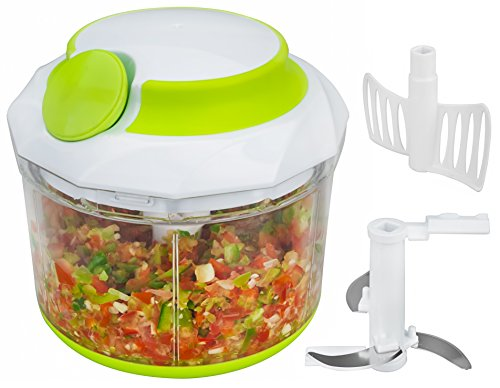 Brieftons QuickPull Food Chopper: Large 4-Cup Powerful Manual Hand Held Chopper/Mincer/Mixer/Blender to Chop Fruits, Vegetables, Nuts, Herbs, Onions for Salsa, Salad, Pesto, Coleslaw, Puree