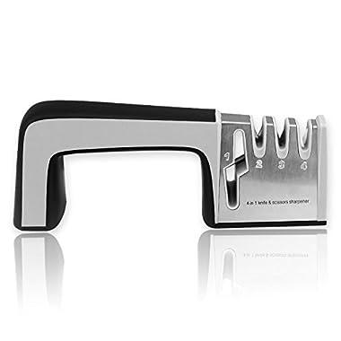 Fantastic Zone Knife Sharpener for All Knives and Kitchen Scissors Professional 4 Stage Knife Sharpening System,Black
