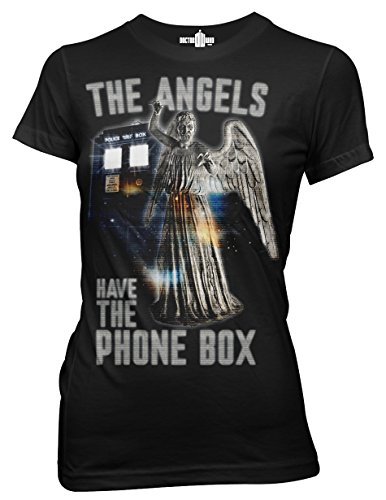 Ripple Junction Doctor Who Angels Have Teh Phone Box Junior T-Shirt XL Black