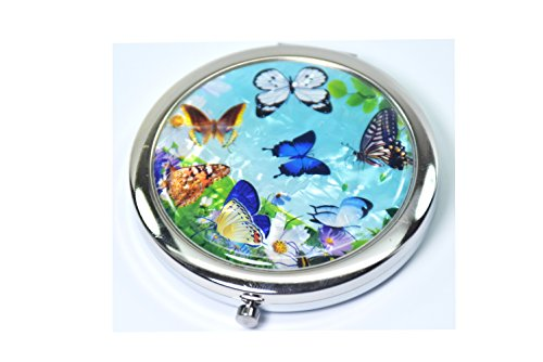 Collection Butterfly Mirror (Round Compact Magnifying Make up Double sided Mirror Mother Of Pearl Art Butterfly (7 blue Butterfly ))