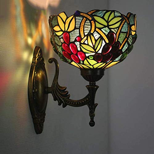 Creative Tiffany Style Wall Light, Church Stained Glass Grape Design Wall Light, European Style Antique Pub Stairs Aisle Corridor Farmhouse Wall Lamp, BOSS LV, b