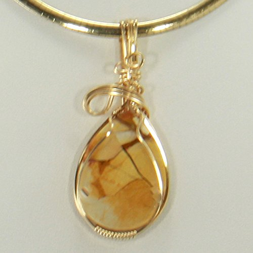 Hidden Valley Jasper Wire Wrapped Pendant, Gold Necklace