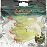 Hurricane Livewire Swim Shad (4 Pack), 4-inch, Chartreuse/Red Mouth/Chartreuse Tail
