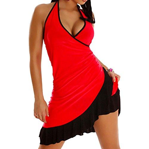 dress LI salsa merengue vestitino abito Miniabito 1490 ROSSO NERA ballo latino donna danza BALZA XCwAXFqf