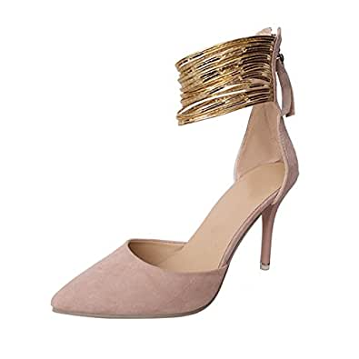 Amazon.com | Mofgr Women Sexy High Heels Shoes Gold Ankle