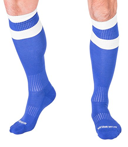 Barcode Berlin Men's Knee High Football Socks Blue White S/M
